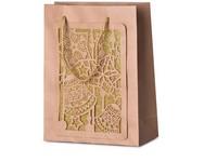 Taška dárková 180X230 mm vánoční design s glitrem 3D, přírodní
