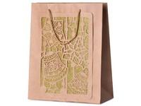 Taška dárková 260X320mm vánoční design s glitrem 3D, přírodní