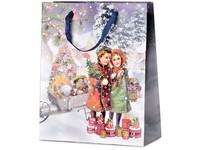 Taška dárková 260X320 mm děti + dárky s glitrem