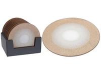 Podtácek na svíčku 200 mm kulatý zrcadlo s gliterm, zlatá