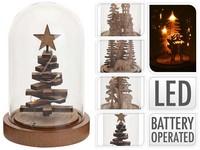 LED dekorace dřevo 100x150mm, stromek mix, přírodní