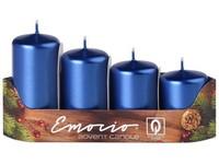 Emocio Stupně 4ks prům. 40mm Metal modré svíčky