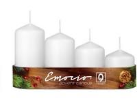 Emocio Stupně 4ks prům.50mm bílé svíčky