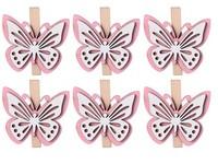 Dekorace dřevo 6 ks 48x43mm motýlek na kolíčku,růžová, bílá