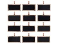 Dekorace dřevo 12 ks 19x39mm cedulka na kolíčku, černá, přírodní