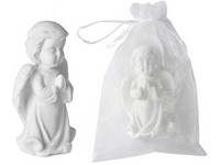 Mýdlo 80g Anděl stojící v organzovém sáčku, bílý