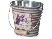 Květináč plechový 125x80x110mm, oválný s uchem, Lavende, mix barev
