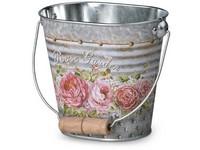 Květináč plechový  125x80x110mm, oválný s uchem, Rose Garden, mix barev