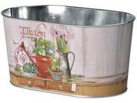 Květináč plechový  225x135x110mm, oválný, Garden, mix barev