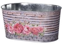 Květináč plechový  225x135x110mm, oválný, Rose Garden, mix barev