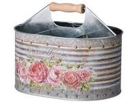 Dóza plechová  245x175x185mm, oválná, Rose Garden, mix barev