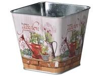 Květináč plechový  125x125x120mm, hranatý, Garden, mix barev