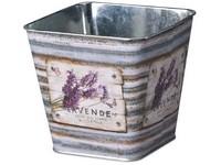 Květináč plechový  125x125x120mm, hranatý, Lavende, mix barev