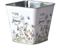 Květináč plechový  125x125x120mm, hranatý, The sense, mix barev