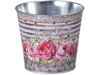 Květináč  plechový 133x115mm, klasik,  Rose Garden, mix barev