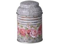 Dóza plechová 70X110mm, kulatá, Rose Garden, mix barev