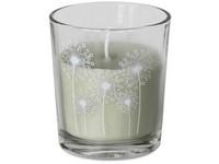 Svíčka ve skle 78x87 mm potisk květy, zelená