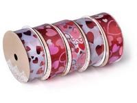 Stuha 10000x38mm srdíčka mix, bílá, červená, růžová