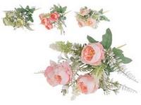 Umělé květiny, plast 330mm pivoňka, puget 7 ks, mix barev