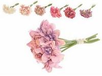Umělé květiny, plast 230mm Jiřina, svazek 9 ks, mix barev