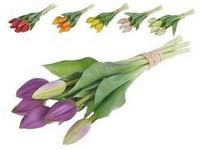 Umělé květiny, plast 270mm tulipán, svazek 7 ks, mix barev