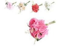 Umělé květiny, plast 250mm hortenzie, pivoňky, svazek 7 ks, mix barev