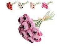 Umělé květiny, plastt 200mm pryskyřník, svazek 12 ks, mix barev