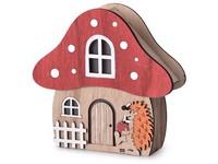LED dekorace  dřevo 157x150mm  domeček Muchomůrka, přírodní, červená