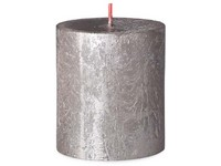Bolsius Rustic Shimmer Válec 68x80mm Champagne, stříbrná svíčka